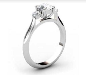 Round Brilliant Cut Diamond Three Stone Engagement Ring 4 2 2