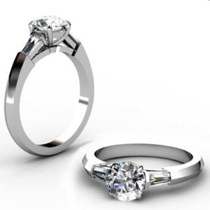 Round Brilliant Cut Diamond Three Stone Engagement Ring with Knife s Edge Band 1