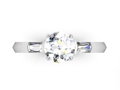 Round Brilliant Cut Diamond Three Stone Engagement Ring with Knife s Edge Band 2
