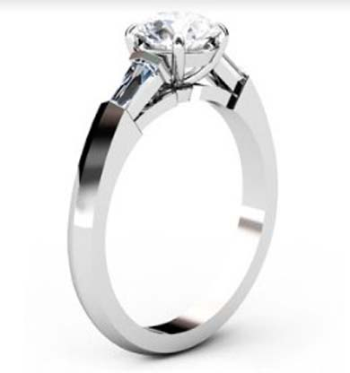Round Brilliant Cut Diamond Three Stone Engagement Ring with Knife s Edge Band 4