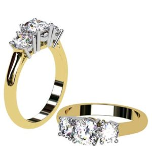 Round Brilliant Cut Diamond Three Stone Yellow Gold Engagement Ring 1 1 2