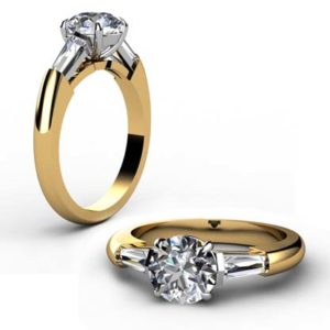Round Brilliant Cut Diamond Three Stone Yellow Gold Engagement Ring 1 2