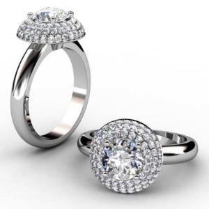 Round Brilliant Cut Diamond Triple Halo Engagement Ring 1 2