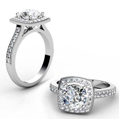 Round Brilliant Cut Halo Milgrain Beaded Engagement Ring 1 2