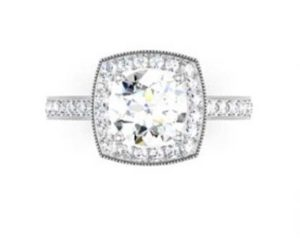 Round Brilliant Cut Halo Milgrain Beaded Engagement Ring 2 2