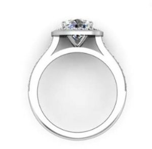 Round Brilliant Cut Halo Milgrain Beaded Engagement Ring 3 2