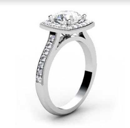 Round Brilliant Cut Halo Milgrain Beaded Engagement Ring 4 2
