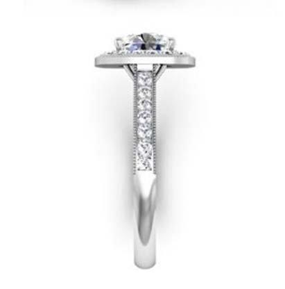 Round Brilliant Cut Halo Milgrain Beaded Engagement Ring 5 2
