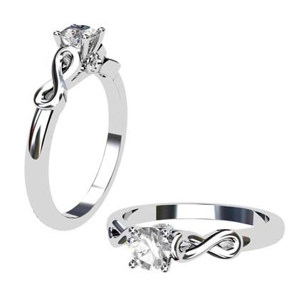 Round Brilliant Cut Infinity Engagement Ring 1 2