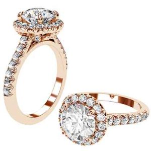 Round Brilliant Cut Rose Gold Diamond Engagement Ring 1 2