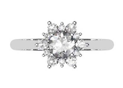 Round Brilliant Cut Snowflake Halo Diamond Ring 2 2