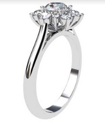 Round Brilliant Cut Snowflake Halo Diamond Ring 4 2