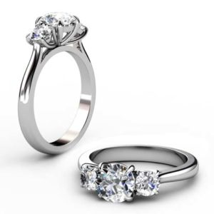 Round Brilliant Cut Three Stone Diamond Engagement Ring 1 2