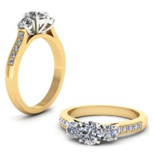 Round Brilliant Cut Three Stone Diamond Yellow Gold Engagement Ring 1 2