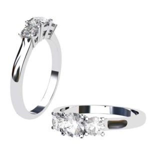 Round Brilliant Cut Three Stone Engagement Ring 1 2