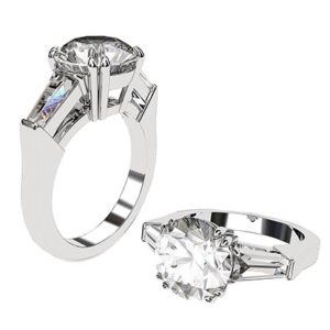 Round Brilliant Cut and Baguette Diamond Ring 1 2