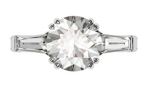 Round Brilliant Cut and Baguette Diamond Ring 2 2