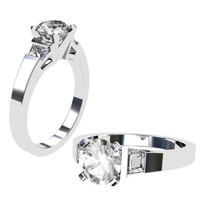 Round Brilliant Cut and trapezoid Diamond Engagement Ring with Flat Band 1 2