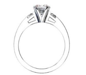 Round Brilliant Cut and trapezoid Diamond Engagement Ring with Flat Band 3 2