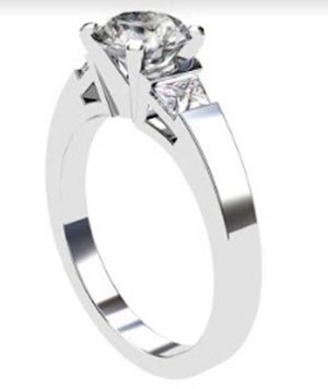 Round Brilliant Cut and trapezoid Diamond Engagement Ring with Flat Band 4 2