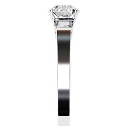 Round Brilliant Cut and trapezoid Diamond Engagement Ring with Flat Band 5 2