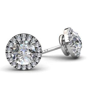 Round Cut Down Set Diamond Halo Earrings 1 2
