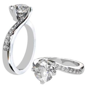 Round Diamond Engagement Ring with a Twisted Band 1 2