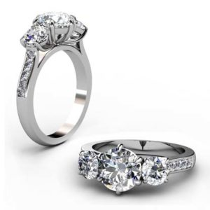 Round Diamond Three Stone Engagement Ring with Channel Set Diamond Band 1 2