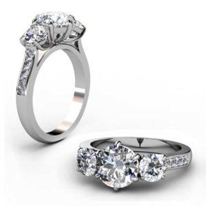 Round Diamond Three Stone Engagement Ring with Channel Set Diamond Band 1 2