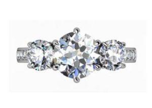 Round Diamond Three Stone Engagement Ring with Channel Set Diamond Band 2 2