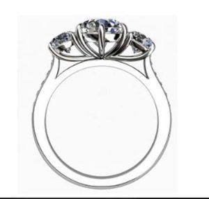 Round Diamond Three Stone Engagement Ring with Channel Set Diamond Band 3 2