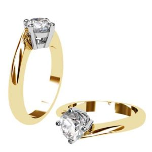 Round Diamond Yellow Gold Engagement Ring with Twisted Band 1 2