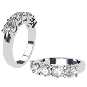 Round Five stone classic claw set diamond ring 1