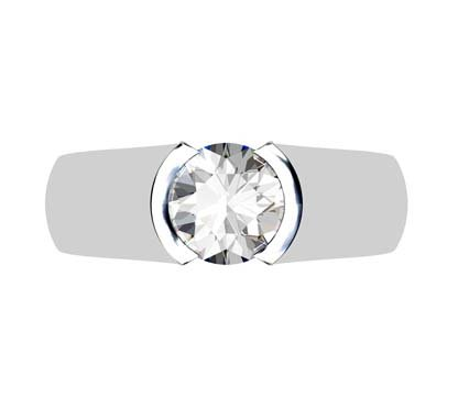Round Semi Bezel Set Diamond Solitaire Ring with Wide Band 2 2