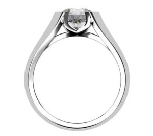 Round Semi Bezel Set Diamond Solitaire Ring with Wide Band 3 2