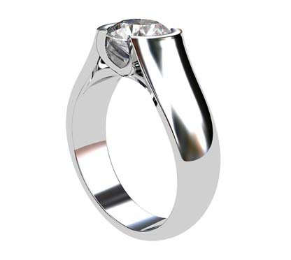 Round Semi Bezel Set Diamond Solitaire Ring with Wide Band 4 2