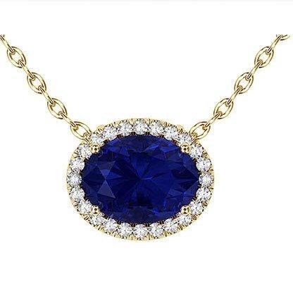 Royal Blue Oval Sapphire Halo Pendant 1 1