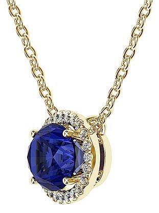 Royal Blue Oval Sapphire Halo Pendant 2 2