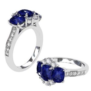 Sapphire Three Stone Oval and Diamond Cluster 1 3