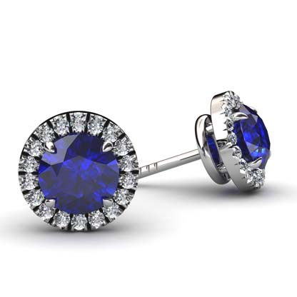 Sapphire and Diamond Halo Stud Earrings 1 2