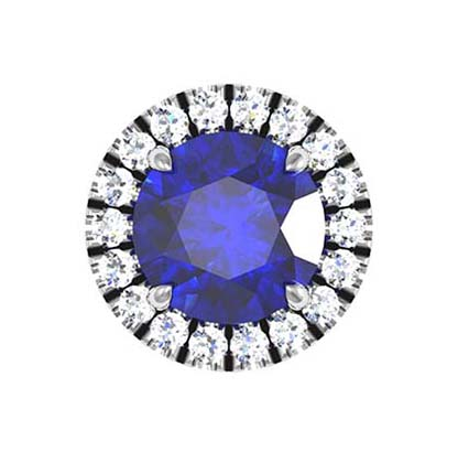 Sapphire and Diamond Halo Stud Earrings 3 2