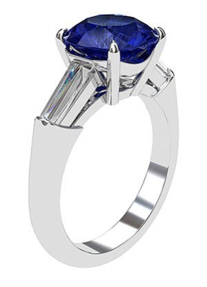 Sapphire and Diamond Ring With Tapered Baguettes 4 2