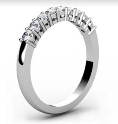 Shared Claw Double Gallery Round Brilliant Cut Diamond Wedding Ring 4