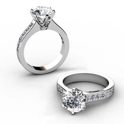 Six Claw Round Brilliant Cut Diamond Engagement Ring 1 2