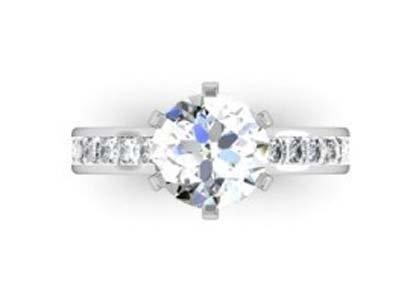 Six Claw Round Brilliant Cut Diamond Engagement Ring 2 2