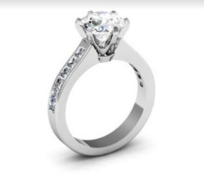 Six Claw Round Brilliant Cut Diamond Engagement Ring 4 2