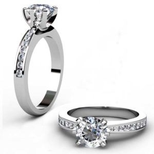 Six Claw Round Brilliant Cut Diamond Engagement Ring with Diamond Band 1 2