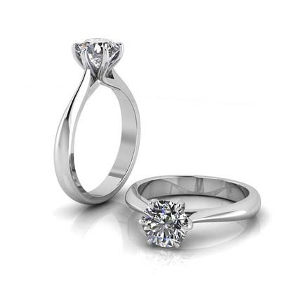 Six Claw Solitaire Diamond Engagement Ring 1 1