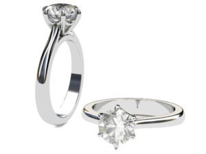 Six Prong Solitiare Diamond Engagement Ring 1 2