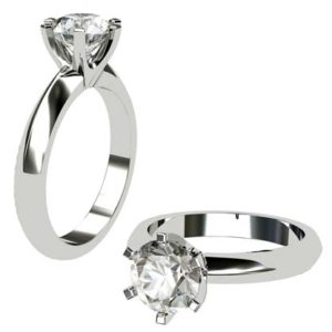 Six Prong Three Carat Round Brilliant Cut Diamond Solitaire Engagement Ring 1 2